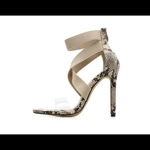 Ankle-Wrap Stilettos -Clear Strap Rounded Toes